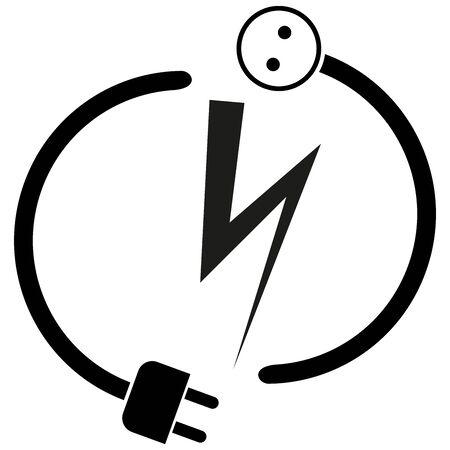 Electricity plug, electricity socket, sticker label, electrician Illusztráció