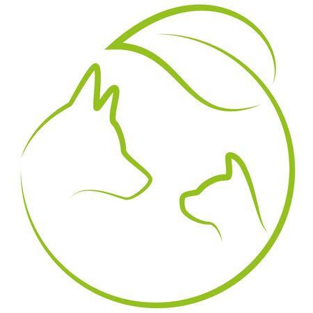Dog, cat, leaves, plant, veterinary practitioner Ilustracja