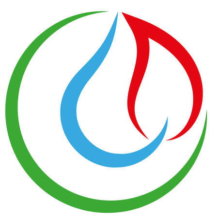 Water and flame, plumber, plumber icon