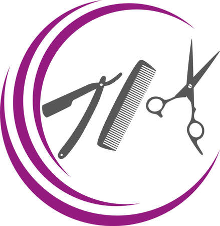 Scissors, comb and razor, hairdresser and barber background 向量圖像