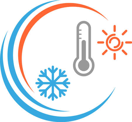 Thermometer, sun and snowflake, temperature 向量圖像