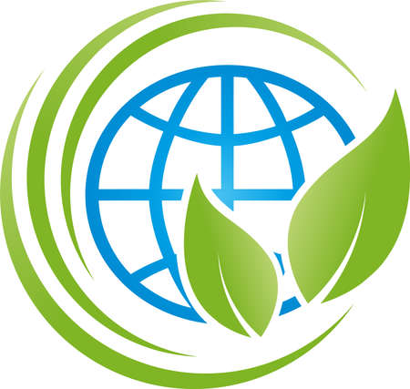 Globe and leaves, earth, ecology, environment 向量圖像