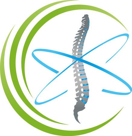 Spine and circles, back, orthopedics and massage 向量圖像