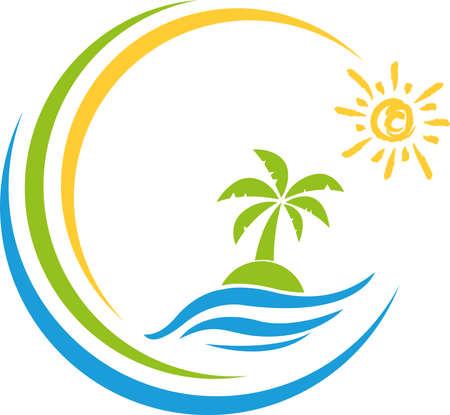 Iceland, sun, palm tree, tropical island