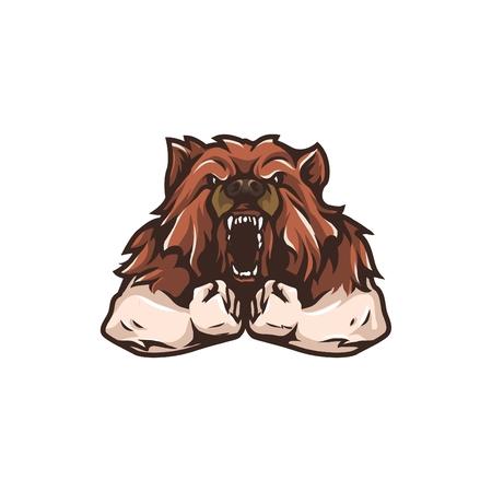 muscular: Muscular Wolf Mascot