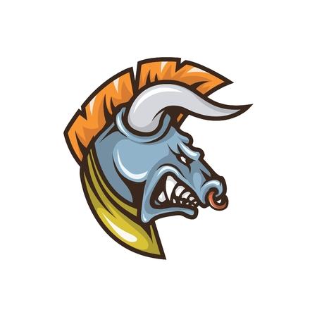 Gladiator Bull Head Mascot Illustration