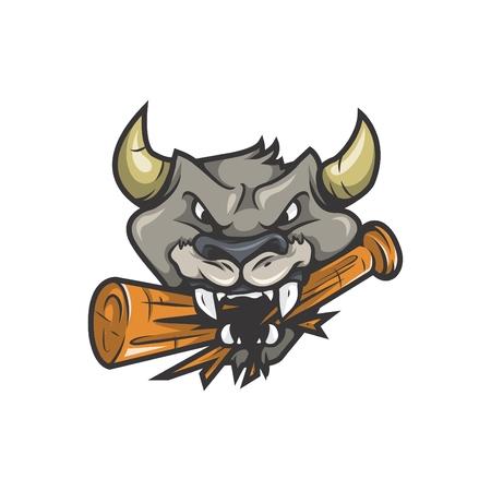 Baseball Bull Head Mascot