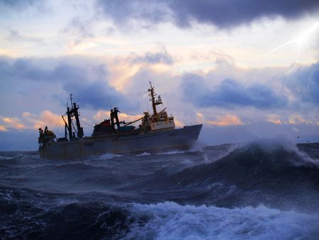 work boat: Sailor ship in storm