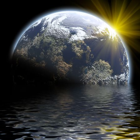 sunset the earth planet in deep space photo