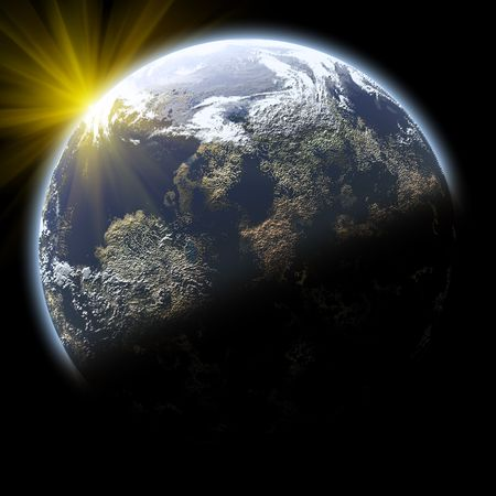 sunset earth planet in deep space photo