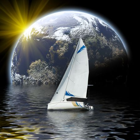 glide: sport yacht glide to planet Stock Photo