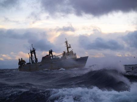 sailing ship: Strong storm in Norwegian Sea