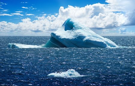 iceberg: Antarctic ice island with penguins  in atlantic ocean