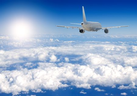 liner transportation: Several aircraftes in blue sky Stock Photo