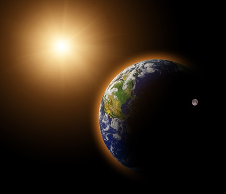 Real Earth Planet in blue sun photo