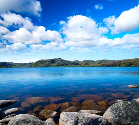 calm background: Blue lake idill under cloudline sky