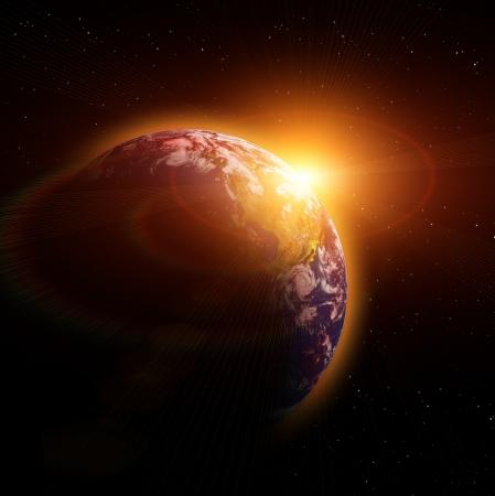 erde gelb: Echte Earth Planet in Gelbe Sonne