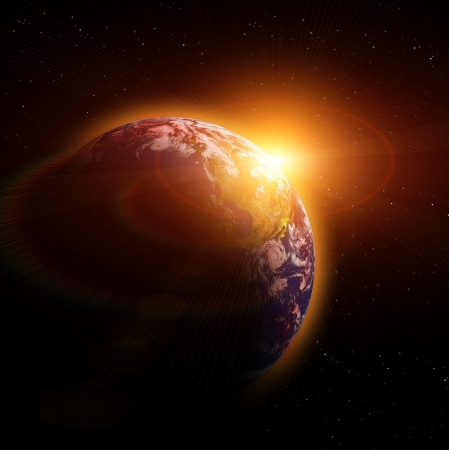 horizon reflection: Real Earth Planet in yellow sun