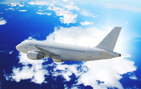 One airliner in blue sky
