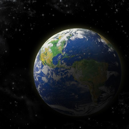 Real Earth Planet in deep space. Sunset. Map is used from NASA site photo