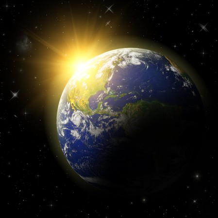 the universe: Modelo en 3D del planeta tierra. Idill azul.