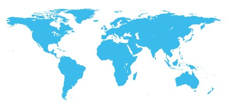 Real detail world map of continents photo
