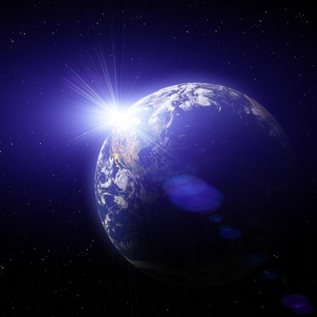 Real Earth Planet in deep space. Sunset. Stock Photo