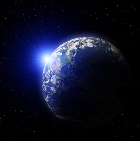Real Earth Planet in deep space. Sunset.