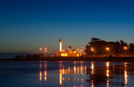 Night life of Montevideo town.Church light. Summer, Uruguay.