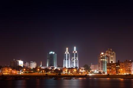 Night life of Montevideo town. Summer, Uruguay.