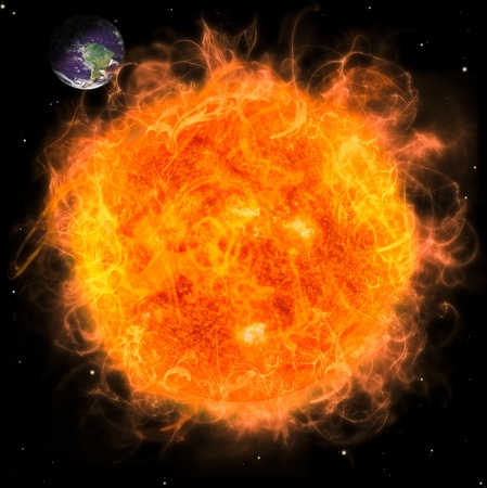 yellow earth: Real Earth Planet in space. Big red fire sun.