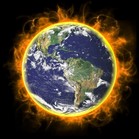 Real Earth Planet. In deep space photo