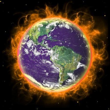 Planeta real de tierra en el espacio. En fuego. Remodelado de foto de la NASA de tierra real. Foto de archivo - 8367859