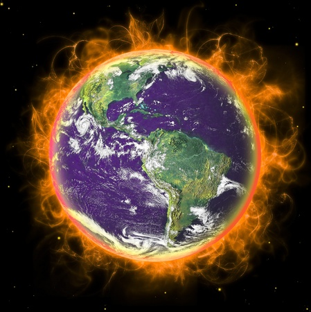 fuego azul: Planeta real de tierra en el espacio. En fuego. Remodelado de foto de la NASA de tierra real.