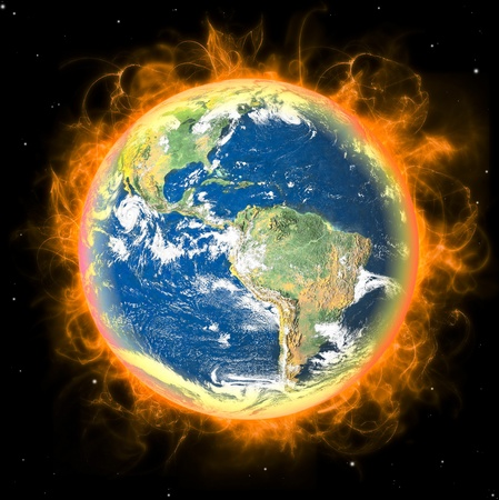 Real Earth Planet in space. Big red fire sun backgraund.