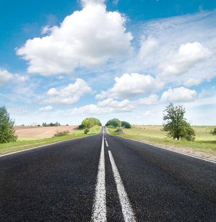 Asphalt road in green meadow. Belarus.  Sepia effect. Stock Photo - 8661493