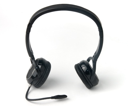 Black bluetooth headphones isolated on a white background  photo