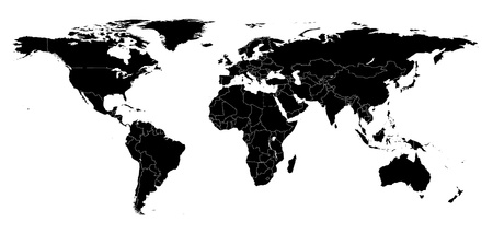 Real detail world map of continents. Black-and-white illustration. Maked Work Path Stock Illustration - 9099338