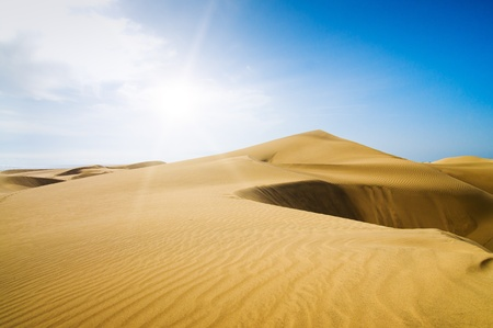 grand canary: Gold desert into the sunny day  Canary Islands, Canaries  Grand Canary  Maspalomas, Resort Town  Stock Photo