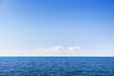 blue sky: Cloudscape. Blue sky and white cloud. Sea and skyline