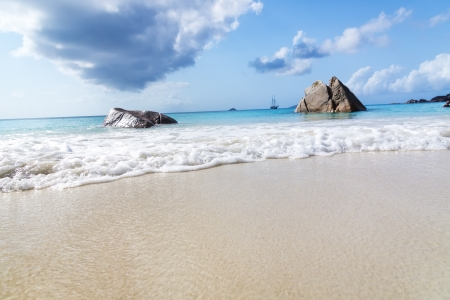 azure coast: La Digue island, Seyshelles, Anse Source d