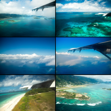 Collage of views with the aircraft. Seychelles islands. Mahe, Praslin, La Digue. photo