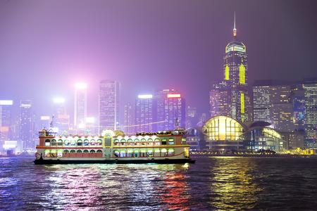 Pleasure boat on the night of Hong Kong. China Editorial