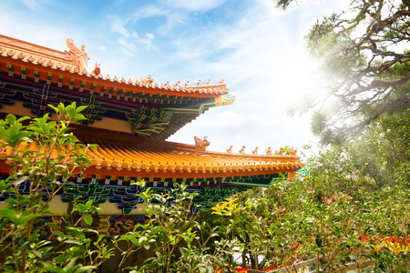 monastery nature: Chinese Buddhist monastery in the mountains. Sunny day.