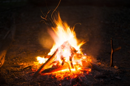 밤에 모닥불의 불길 스톡 콘텐츠