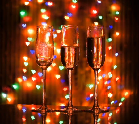 A glass of champagne on the bokeh photo