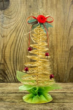Christmas Vintage decoration border design over old wood background photo