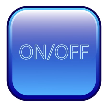 labeled: Big blue button labeled onoff Illustration