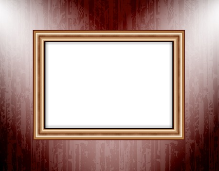 sensation: Blank frame on a colored wall lighting spotlights. Vector.