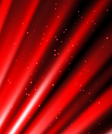 Snow and stars are falling on the background of red luminous rays. Vector